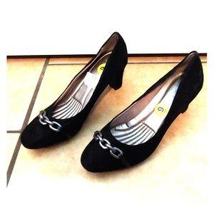 Black suede heels, new, never worn, size 9